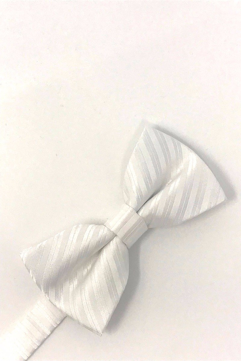 White Newton Stripe Bow Tie