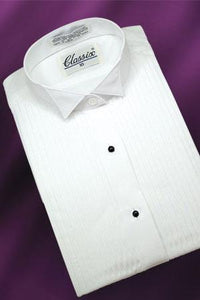 """Aubrey"" Women's White Pleated Wingtip Tuxedo Shirt"