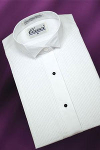 """Allison"" Women's White Pleated Wingtip Tuxedo Shirt"