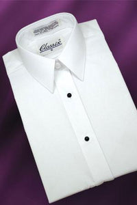 """Lauren"" Women's White Laydown Tuxedo Shirt"