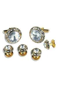 Clear Crystal Rhinestones Border Studs and Cufflinks Set