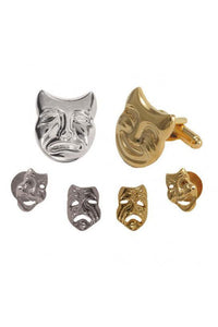 Comedy & Tragedy Studs and Cufflinks Set
