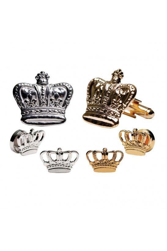Crown Studs and Cufflinks Set