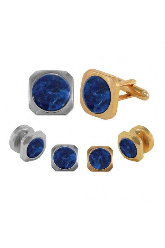 Sodalite Cushion Cut Studs and Cufflinks Set