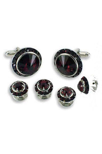 Dark Ruby Crystal Black Rhinestones Border Studs and Cufflinks Set