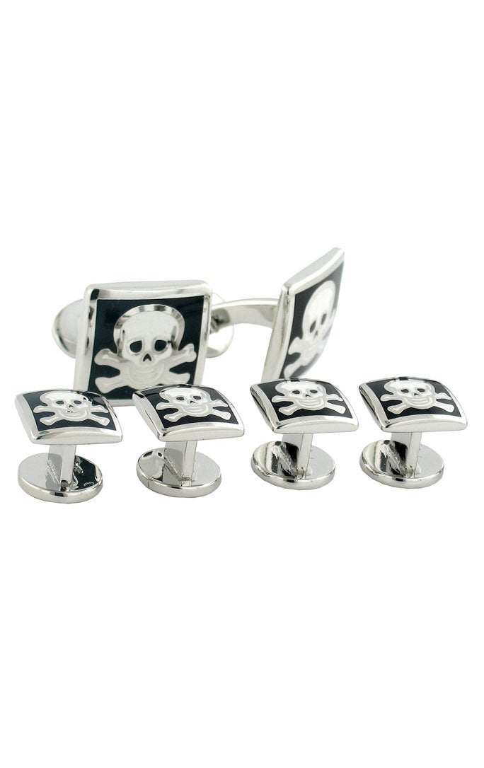 Sterling Silver Black & White Skull & Cross Bones Studs & Cufflinks Set