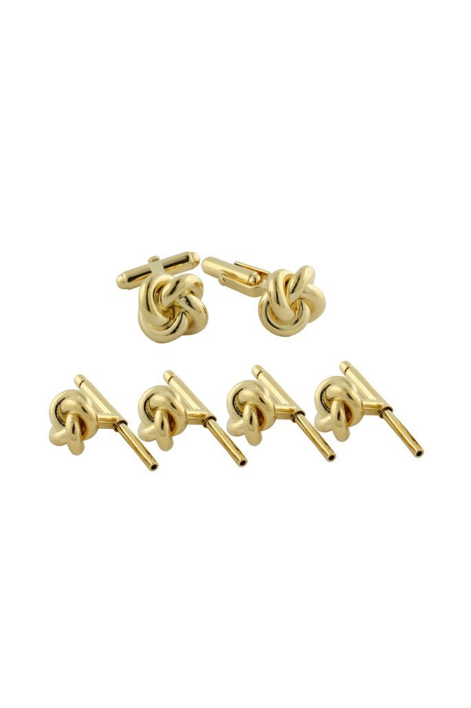Gold Plated Sterling Silver Knot Studs & Cufflinks Set