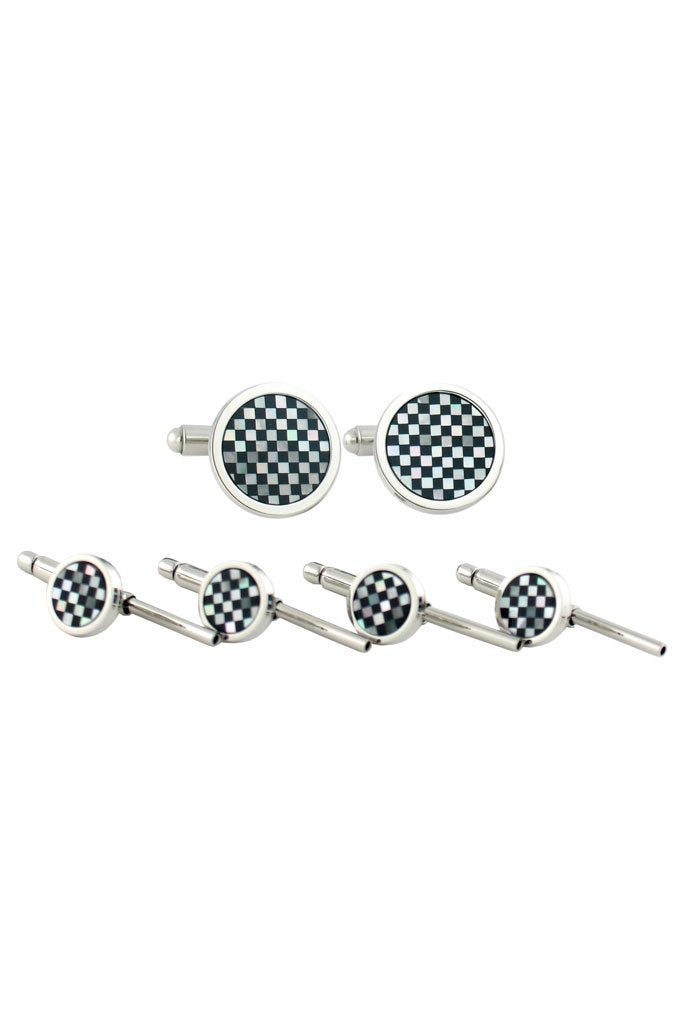 Sterling Silver Onyx & Mother of Pearl Studs & Cufflinks Set