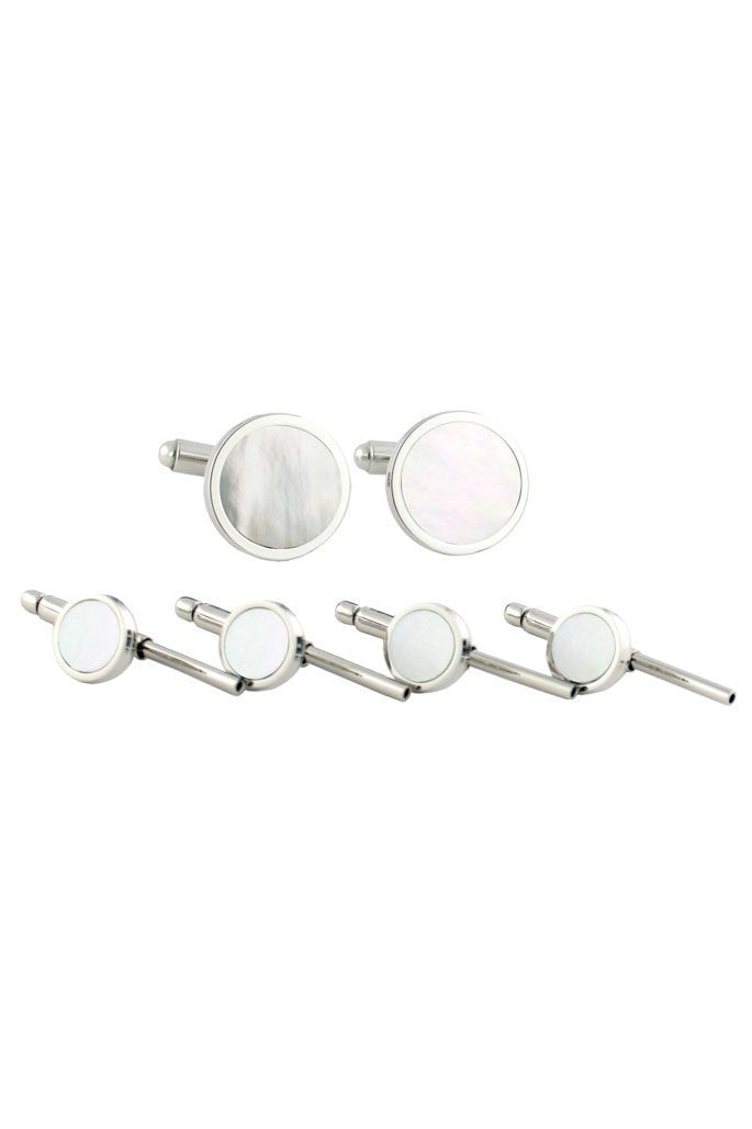 Sterling Silver Mother of Pearl Studs & Cufflinks Set