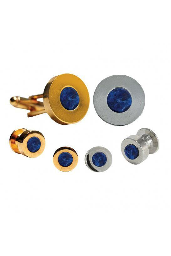 Sodalite Double Wide Studs and Cufflinks Set