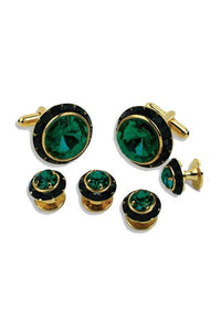 Emerald Crystal Black Rhinestones Border Studs and Cufflinks Set