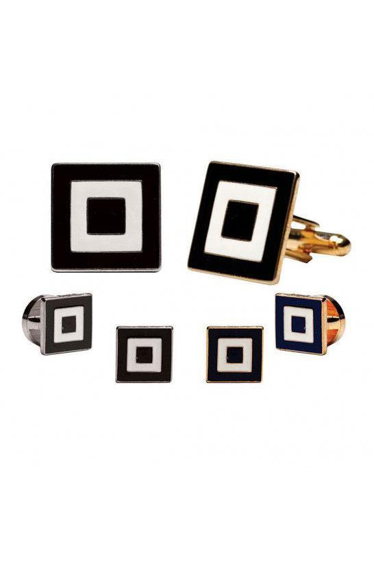 Epoxy Square Studs and Cufflinks Set