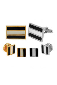Epoxy Rectangle Studs and Cufflinks Set