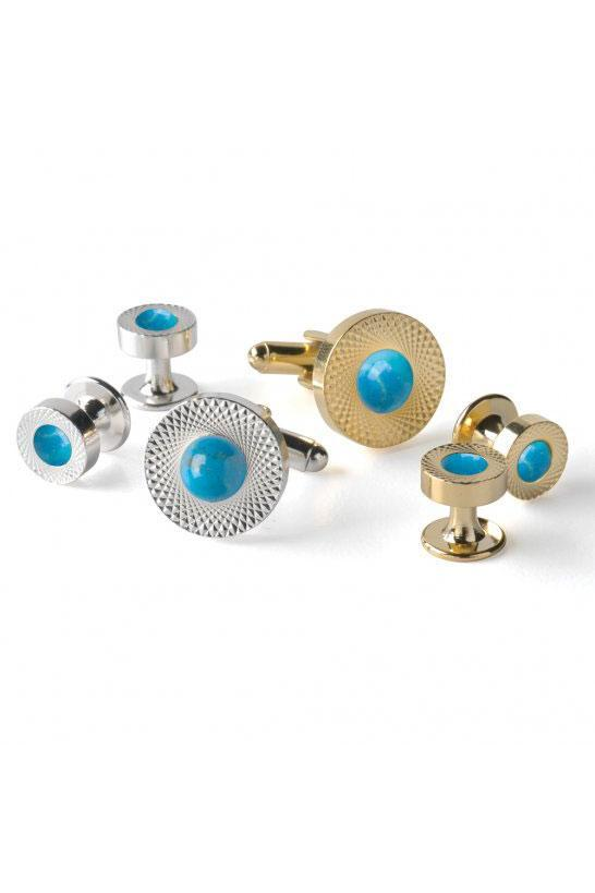 Howlite Etched Double Wide Studs and Cufflinks Set