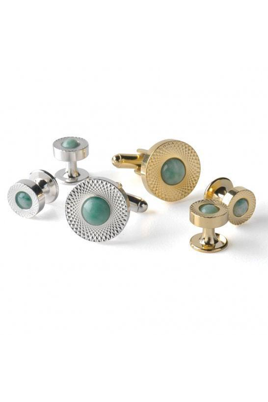 Jade Etched Double Wide Studs and Cufflinks Set