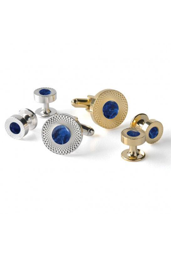 Sodalite Etched Double Wide Studs and Cufflinks Set