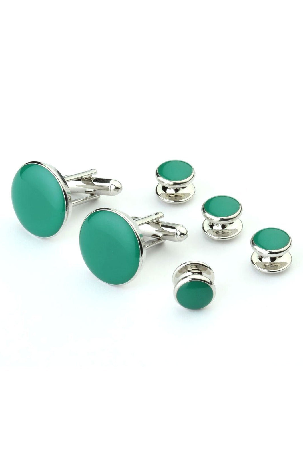 Green with Silver Trim Studs and Cufflinks Set