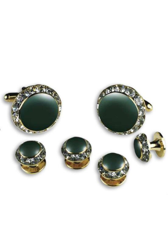 Hunter Enamel Rhinestones Border Studs and Cufflinks Set