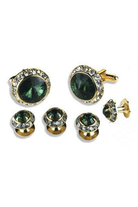 Emerald Crystal Rhinestones Border Studs and Cufflinks Set