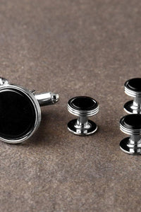 Premium Onyx Triple Rim Silver Studs and Cufflinks Set