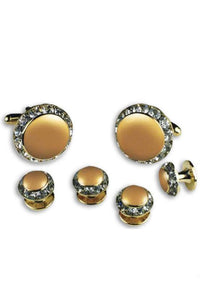 Irish Cream Enamel Rhinestones Border Studs and Cufflinks Set