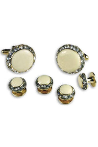 Ivory Enamel Rhinestones Border Studs and Cufflinks Set
