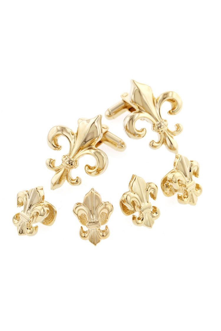 Fleur de Lis Gold Studs and Cufflinks Set