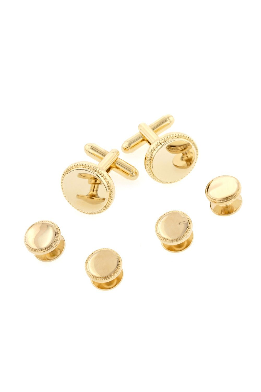 Beaded Edge Gold Studs and Cufflinks Set