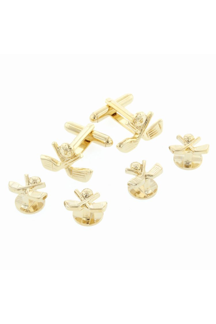 Golf Gold Studs and Cufflinks Set
