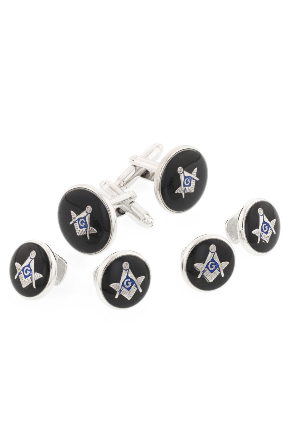 Masonic Black Enamel Silver Studs and Cufflinks Set