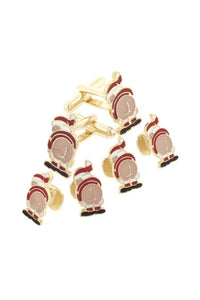 Mooning Santa Gold Studs and Cufflinks Set