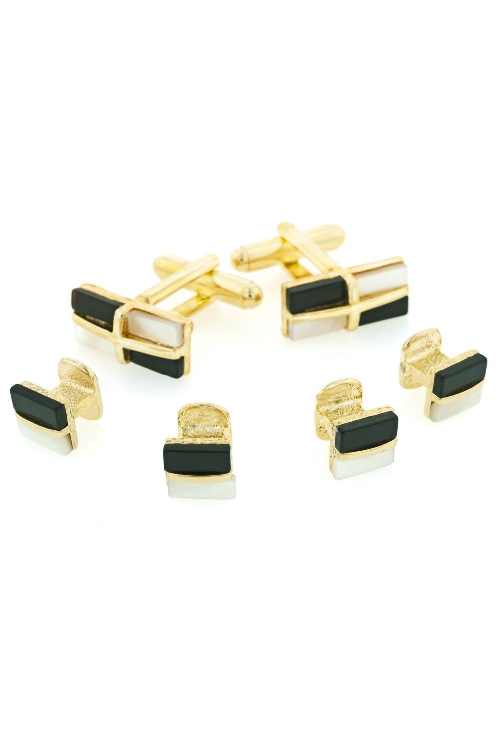 Mother of Pearl & Onyx Gold Studs and Cufflinks Set