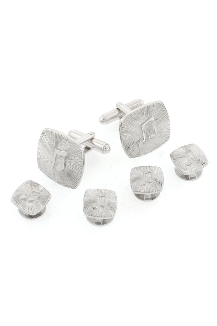 Music Note Silver Studs and Cufflinks Set