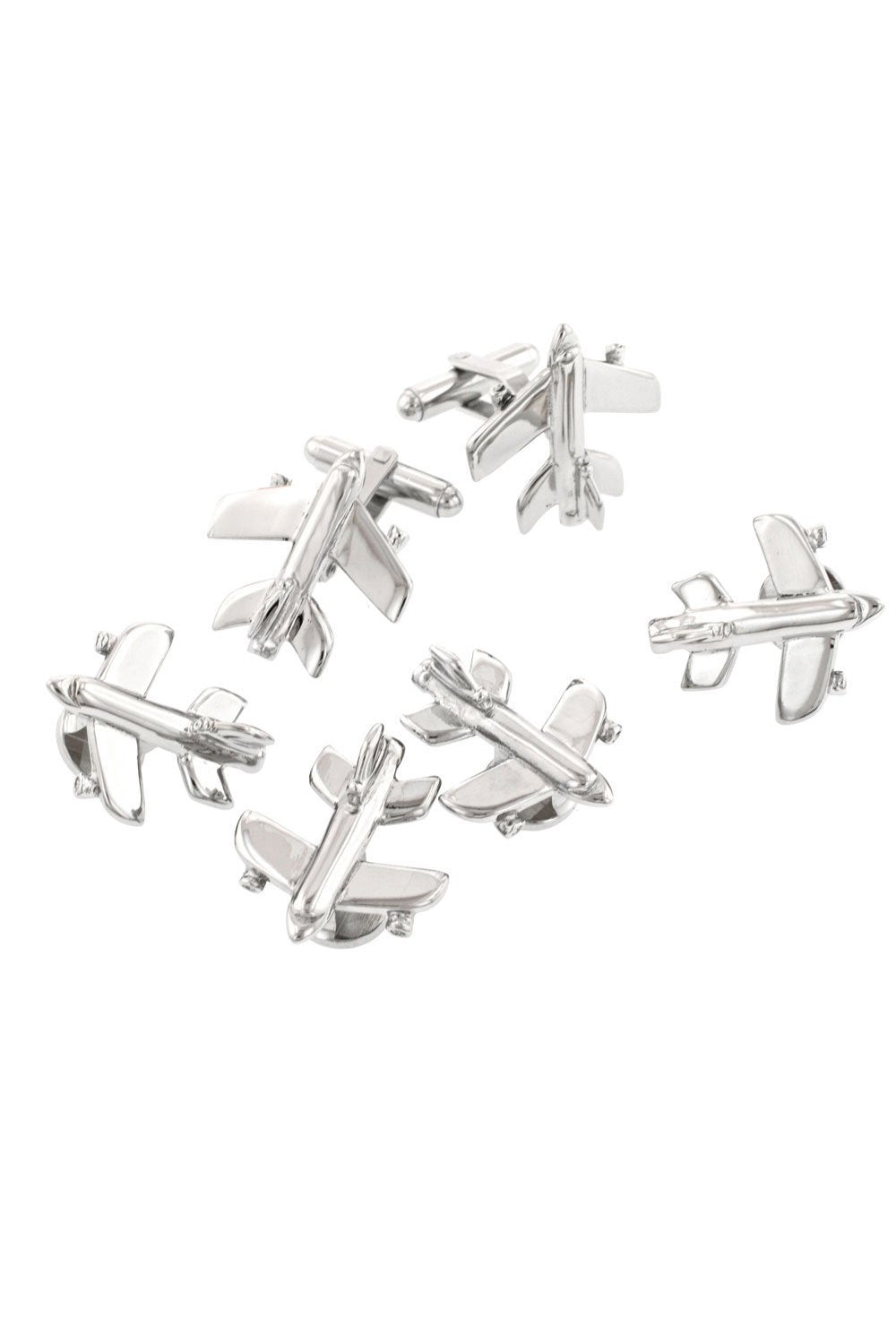 Plane Silver Studs and Cufflinks Set