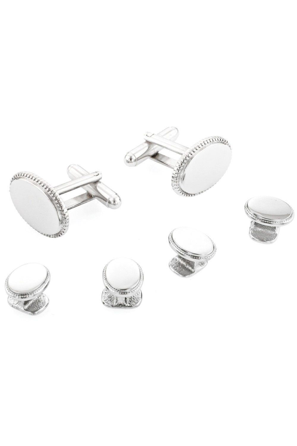 Oval Beaded Edge Silver Studs and Cufflinks Set