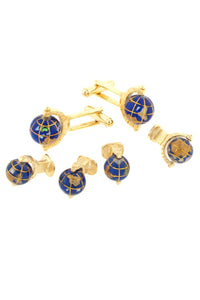 Spinning Globe Gold Studs and Cufflinks Set