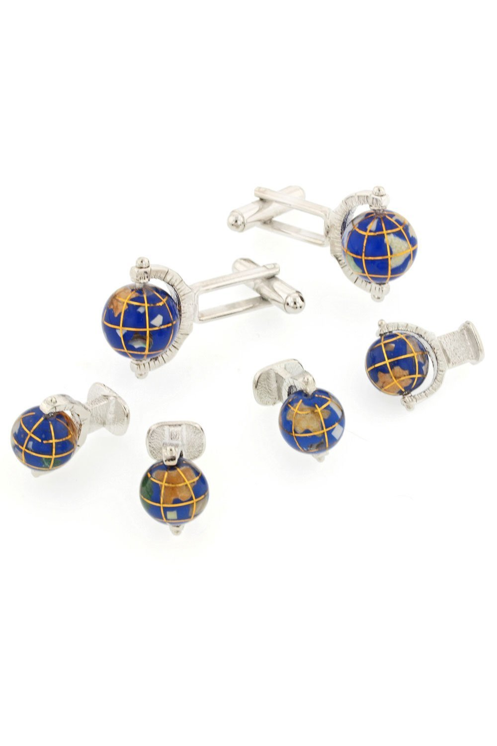 Spinning Globe Silver Studs and Cufflinks Set
