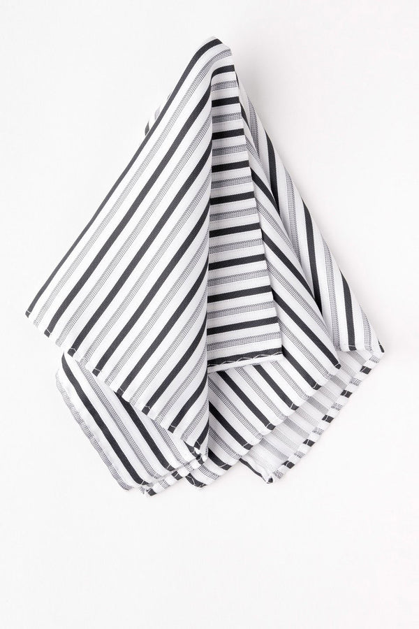 Satin Black, Grey & White Striped Pocket Square