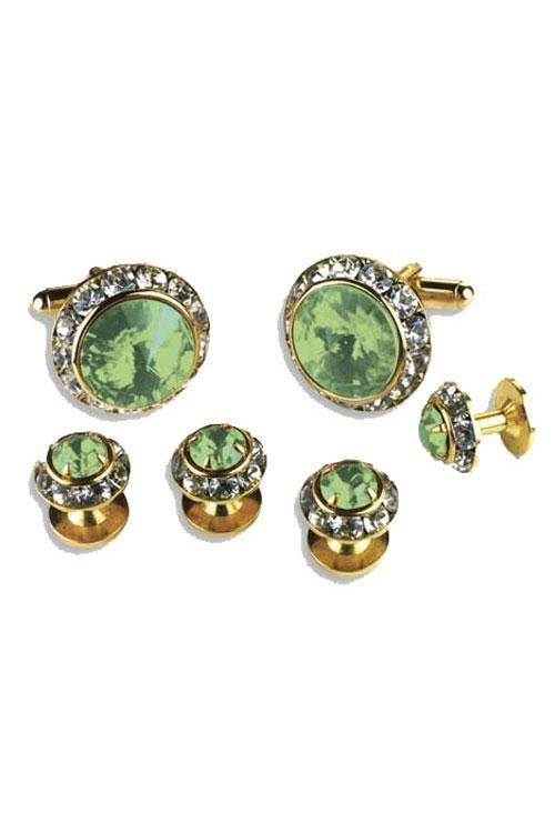 Light Green Crystal Rhinestones Border Studs and Cufflinks Set