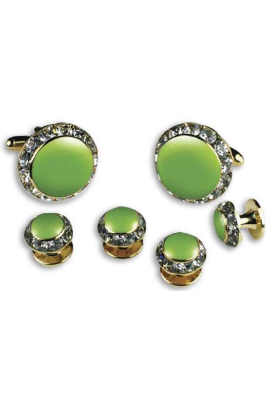 Lime Enamel Rhinestones Border Studs and Cufflinks Set