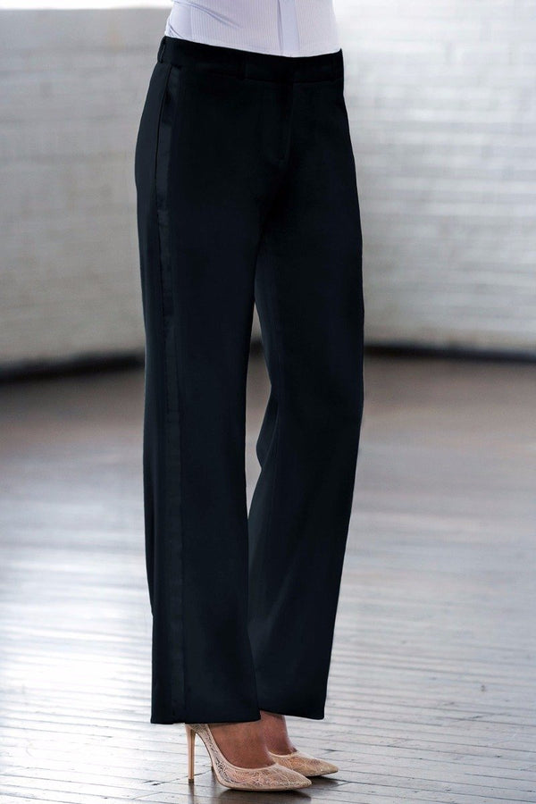 Loren Black Straight / Wide Fit Tuxedo Pants