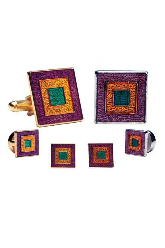 Mardi Gras Epoxy Square Studs and Cufflinks Set