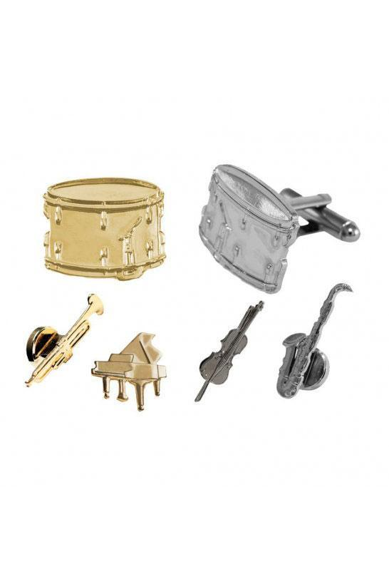 Musical Instruments Studs and Cufflinks Set