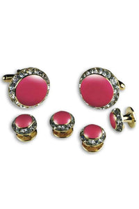 Pink Enamel Rhinestones Border Studs and Cufflinks Set
