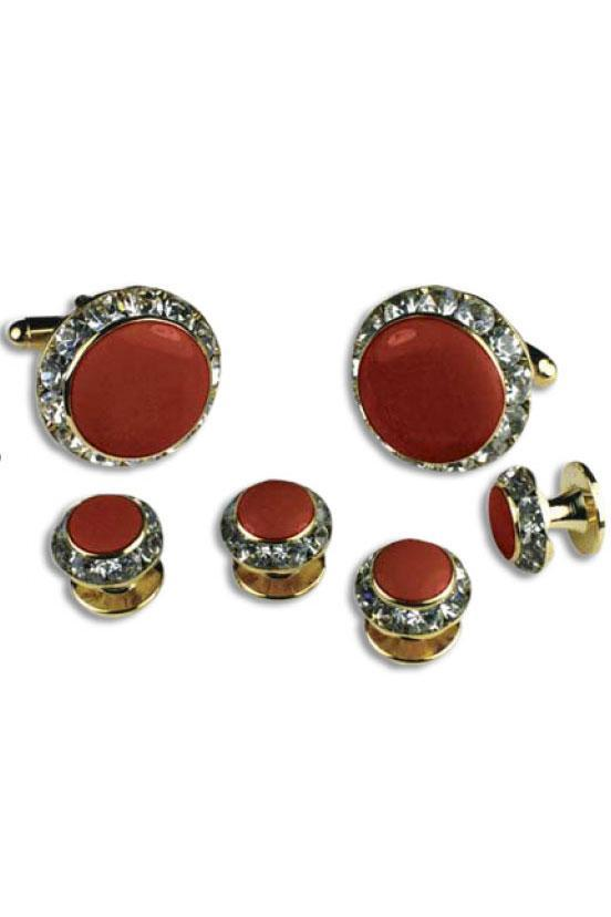Red Enamel Rhinestones Border Studs and Cufflinks Set
