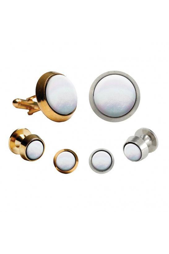 Mother of Pearl Round Beveled Edge Studs and Cufflinks Set