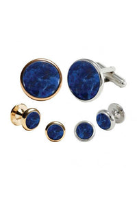 Sodalite Round Studs and Cufflinks Set