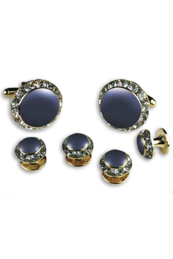 Royal Blue Enamel Rhinestones Border Studs and Cufflinks Set