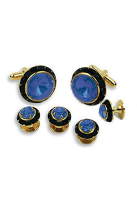 Sapphire Crystal Black Rhinestones Border Studs and Cufflinks Set