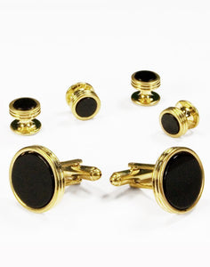 Black Circular Onyx with Gold Concentric Circles Studs and Cufflinks Set